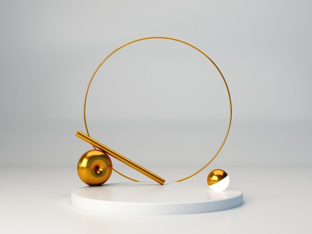 3d render. minimal  3d scene with geometrical forms. white background. minimal white podium with gold ring in abstract background.