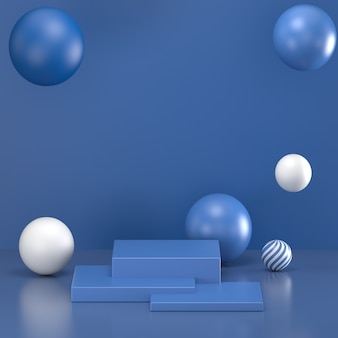 3d визуализация. минимальный абстрактный фон. пустая, пустая стена, подиум моды, вакантный постамент, ступени цилиндра, интерьер сцены, витрина. современная концепция классический синий цвет года