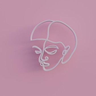 3 d レンダリングの最小限の抽象的な女性の肖像画の女性の顔の輪郭は、金線のシンプルな線形アート