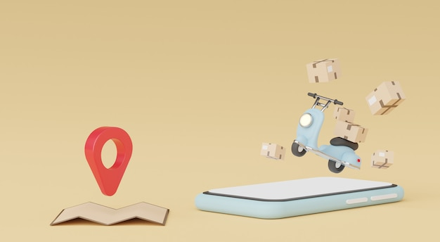 3d render of minimal cartoon of parcel delivery scooter or motorbike online shopping and fast delivery concept
