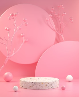 3d render minimal display with pastel pink abstract background illustration