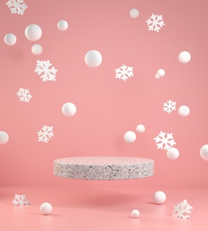 ピンクの背景図に落ちる雪とスノーフレークピンクの3dレンダリング最小空の表彰台フロート