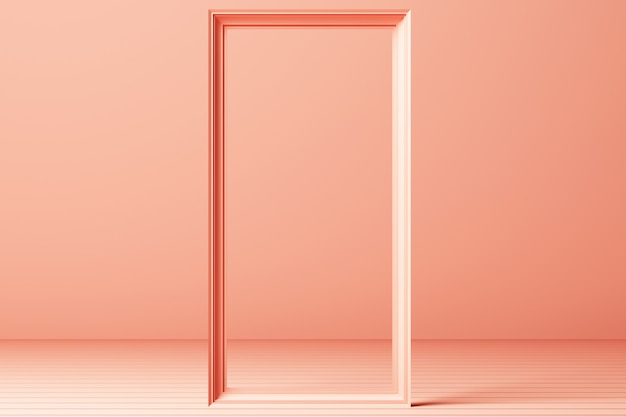 3d render minimal fashion background arch tunnel corridor portal perspective pink mint pastel colors