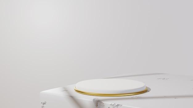 3d render of minimal luxury white design cylinder box podium in white concrete wall background.