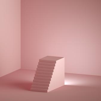 3d визуализация минимальный розовый фон с копией пространства.