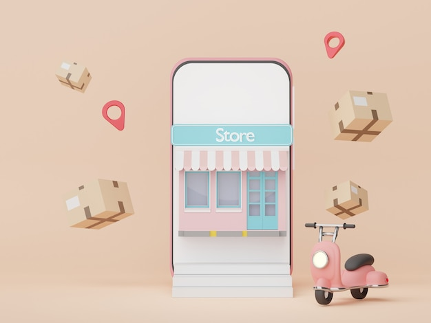 3d 렌더링 온라인 쇼핑 개념으로 최소 스마트폰 및 스쿠터 소포 배달
