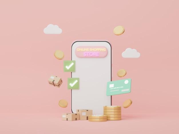 3d 렌더링 신용 카드 돈 개념 재정 계획 온라인 쇼핑으로 최소한의 스마트 폰