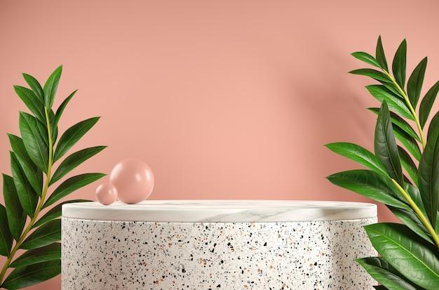 분홍색 배경에 열대 식물이있는 프레젠테이션 제품에 대한 3d 렌더링 최소 단계 대리석