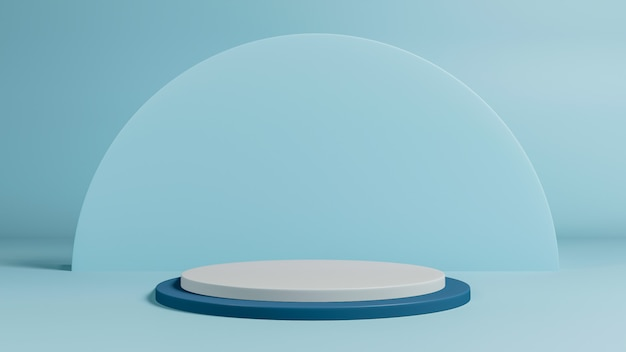 3d render of minimal style podium or pedestal on pastel background.abstract concept.