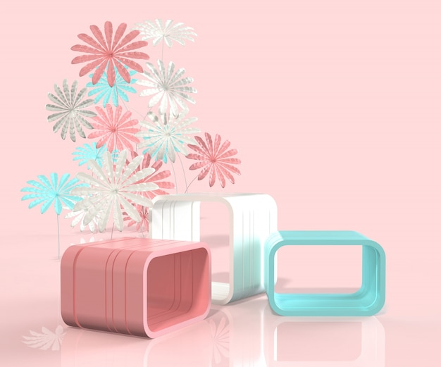 3d render minimal style podium with flower