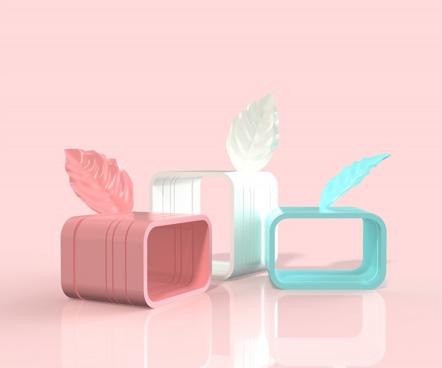3d render minimal style podium with leaves