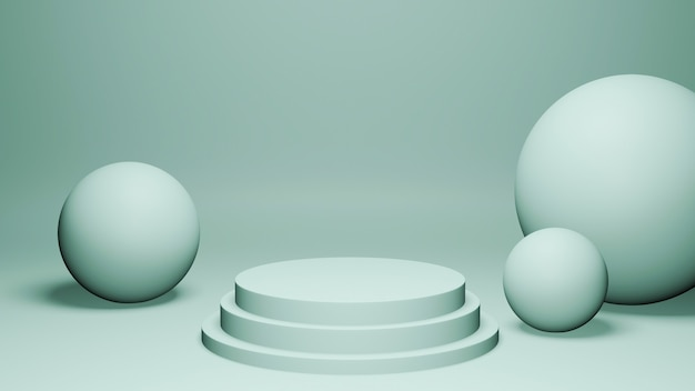 3d render mint spheres and podium on mint background