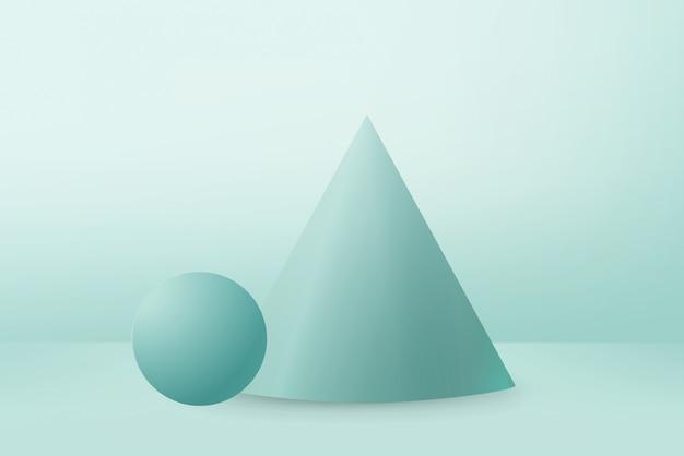 ミントの背景にミントの三角形の表彰台とボールを3dレンダリング