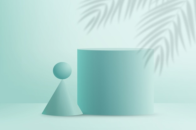 ミントの背景に熱帯の葉の影でミントの三角形の表彰台とボールを3dレンダリング