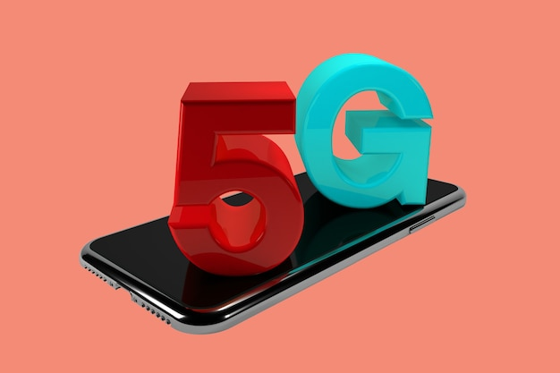 3d render . mobile phone with 5g wireless sign. mobile telecommunication concept.
