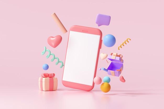 3d-рендеринг мобильного телефона с пустым экраном и плавающим подарком, сердцем, лентой и геометрическими фигурами на розовом фоне