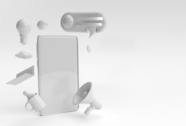 空白の画面のモックアップデザインの3dレンダリング携帯電話