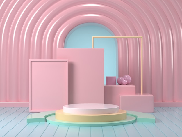 3d render of mock up podium abstract  pastel podium