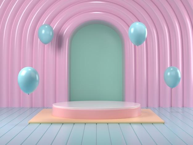 3d render of mock up podium abstract  pastel podium