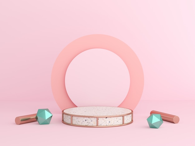 3d render mock up scene pastel color. geometry shape podium wall for product.