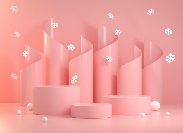 3d визуализация макет пустой розовый пьедестал
