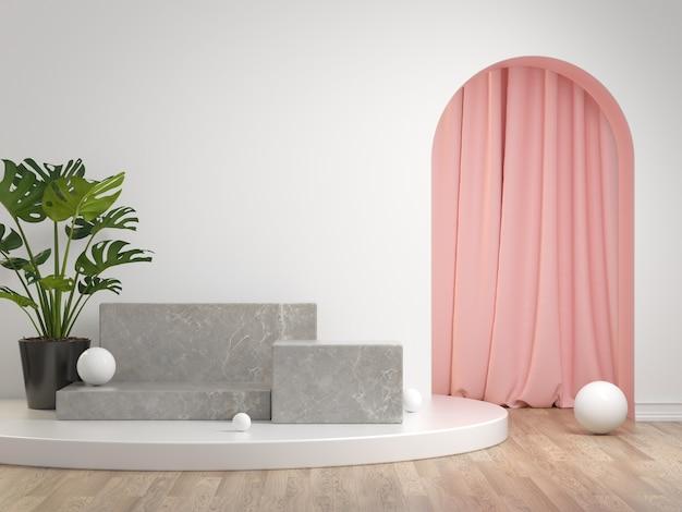 3d визуализация макет серый каменный подиум набор с занавеской и растением на белом фоне