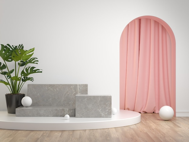 3d render mockup gray stone podium set collection with curtain and plant white background illustration