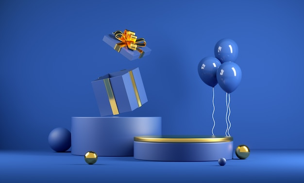 3d render mockup minimal celebrate blue podium