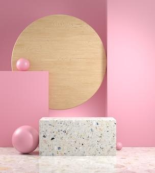 3d визуализация макет минимальный подиум мягкий розовый геометрическая композиция сцены
