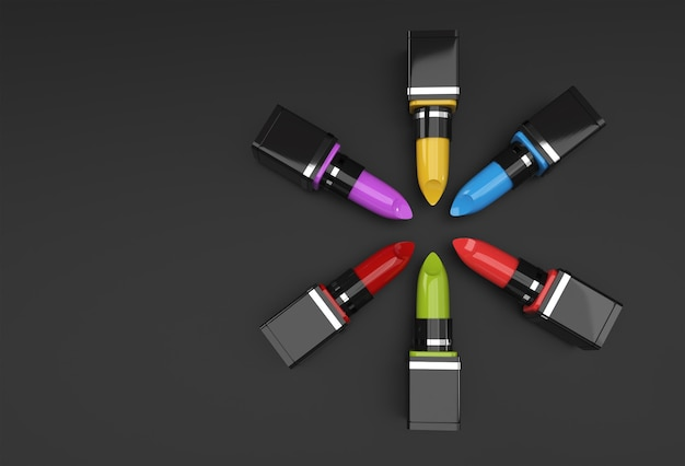 口紅の3dレンダリングモックアップディスプレイ製品の広告デザインのための最小限の表彰台シーン。