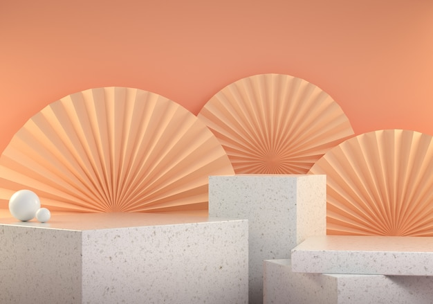 3d render mockup podium marble stage collection with chinese paperfan on beige