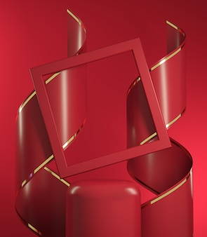 3d render mockup red stage scene with spiral ribbon and square frame abstract backgroud illustration
