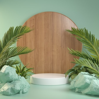 3d render mockup white podium with green forest concept