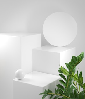 3d render mockup white podium with plant background illustration
