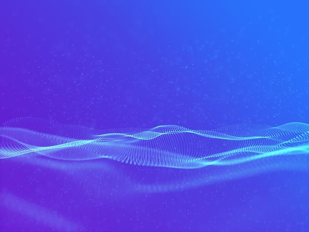 Rendering 3d di uno sfondo astratto moderno con particelle fluenti