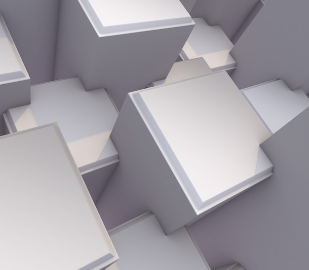 3d render of a modern abstract with bevelled extruding cubes