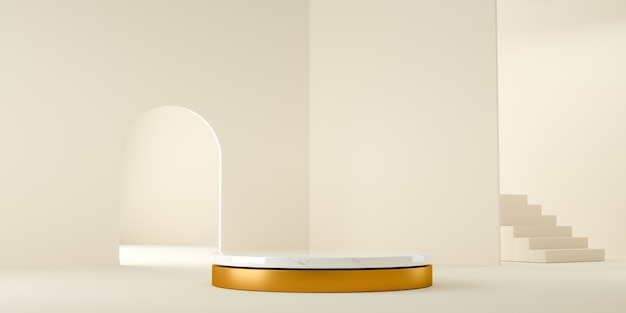 3d визуализация, современный и минималистский фон с белым мрамором и золотом в абстрактном помещении