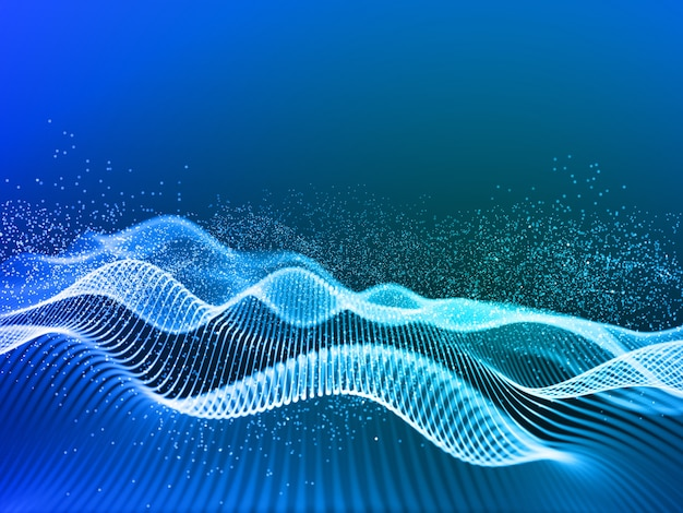 3d render of a modern background with flowing cyber lines and particles