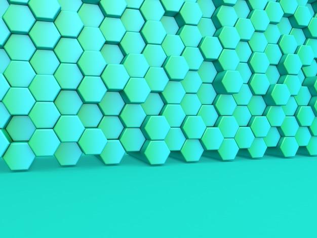 Rendering 3d di uno sfondo moderno con parete di esagoni estrusi
