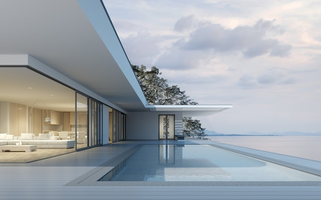 3d render of modern house with swimming pool on sea background.