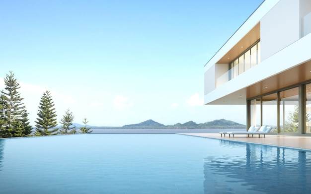 3d render modern house with swimming pool