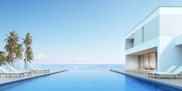 3d визуализация современный дом с бассейном