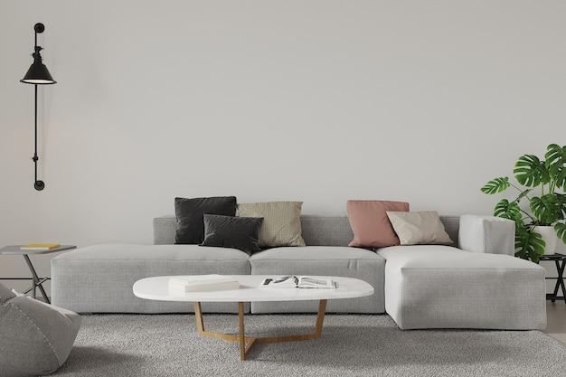 3d render modern living room with sofa and pillows