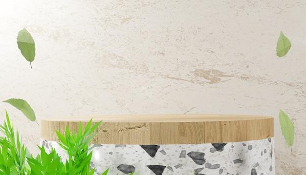 3d 렌더링 현대 최소한의 흰색 테라조 단계 연단과 잎