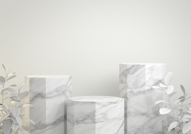 3d render modern mockup white step marble hexagon podium with tropical plant background