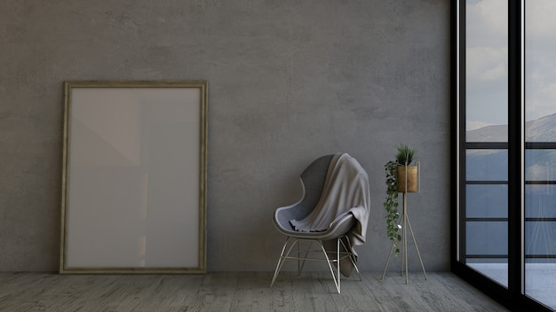 3d render of a modern room interior