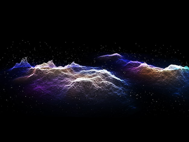 3d render of a modern tech landscape background of cyber particles