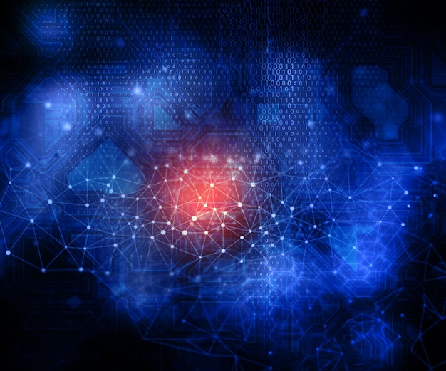 3d rendering di uno sfondo moderno di tecnologia con linee di collegamento e punti