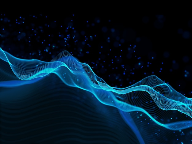3d render of a modern technology background with flowing lines and floating particles design