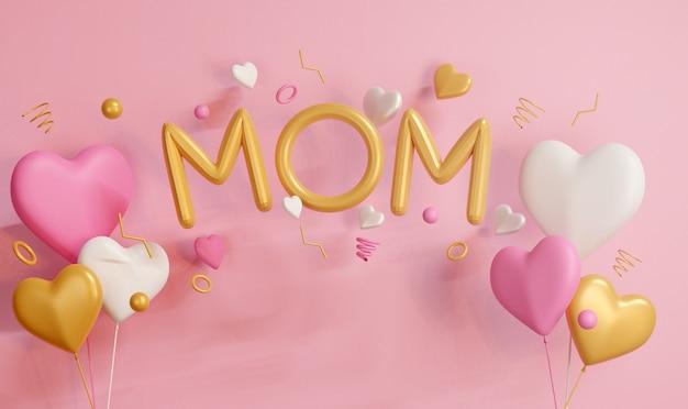 3d 렌더링 엄마 모양의 분홍색 배경에 심장 모양의 풍선과 함께 노란색 풍선